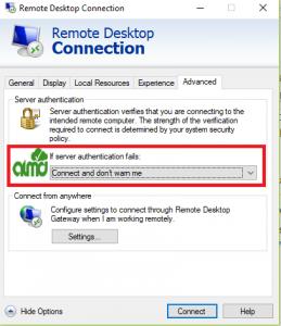 rdp windows authentication