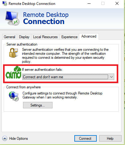 rdp windows authentication