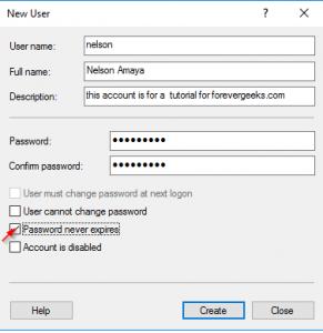 password expire in windows server