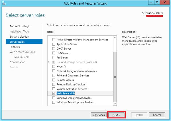اضافه کردن IIS به ویندوز سرور
